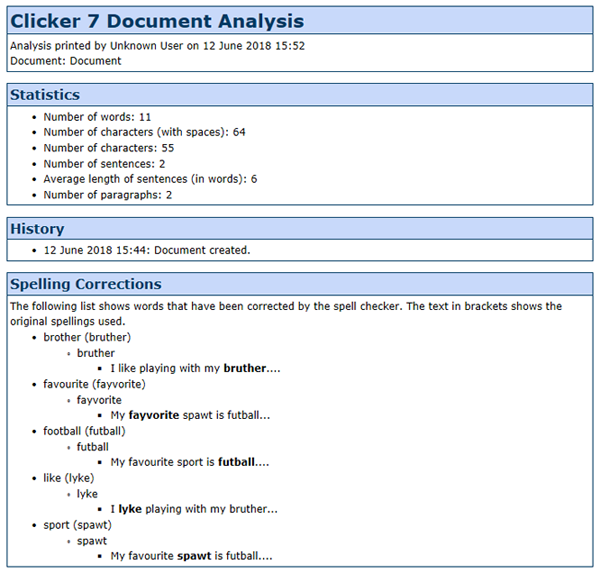 Print out Clicker 7 Document Analysis