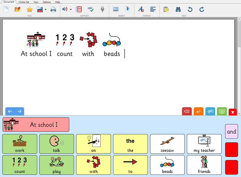 SymbolStix used within Clicker 7 providing writing support
