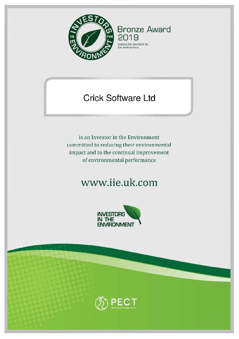 Bronze Award certificate 2019